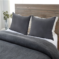 dark charcoal blanket twin queen king pillow sham standard stonewashed cotton waffle weave