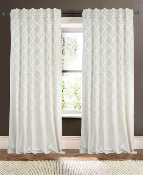 Creative Threads curtains panels drapery linen embroidery light gray white formal lined rod pocket back tabs