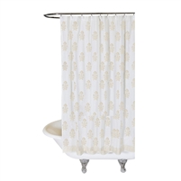 shower curtain flowers white gold hand-stamped Indian inspired ethnic