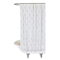 shower curtain flowers white silver hand-stamped Indian inspired ethnic
