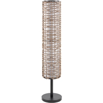 floor lamp single bulb metal base rattan black