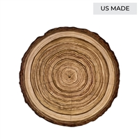 paper placemats sheets disposable wood slice log tree trunk outdoors charger