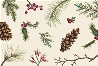 paper placemat holly leaves pine cones twigs berries 30 sheets