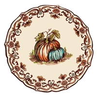die cut paper placemats 12 sheets round scalloped edges fall Autumn Thanksgiving pumpkins orange aqua