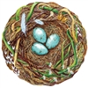 round die cut placemat nest blue eggs