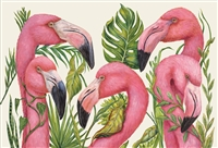 paper placemat pad pink flamingos green leaves