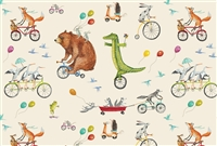 paper placemat pad bicycles animals balloons wagons bear alligator