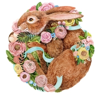 paper placemat round die cut bunny rabbit pink flowers