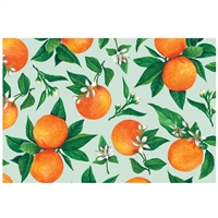 paper placemat pad light aqua orange blossoms green leaves