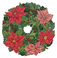 paper placemat die cut Hester & Cook red green pink poinsettia wreath Christmas