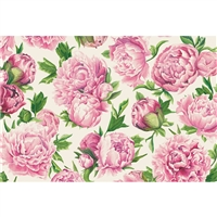 paper placemat pad pink floral peonies
