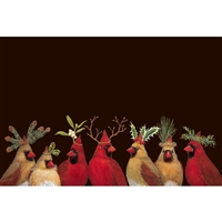 paper placemats holiday winter Christmas holly pine hats black red cardinals birds rectangle