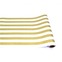 table runner paper stripe white gold long disposable soy USA