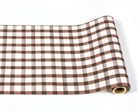 paper table runner check brown white