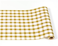 paper table runner check gold white