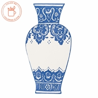 paper table die cut blue + white vase placecard Asian Moroccan disposable