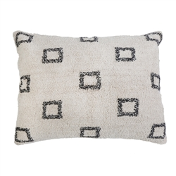pillow rectangle ivory cream grey squares yarn rug pillow king size
