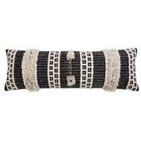 bolster accent pillow black ivory stitching knots tassels pom poms woven stripes insert