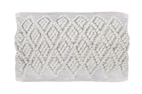 "24"" long lumbar pillow cotton looped ivory diamond patterns"
