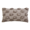 throw accent toss lumbar pillow taupe cream hand woven stitching pom poms