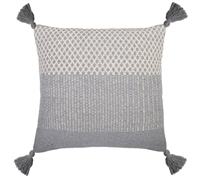 "20"" square blue gray ivory stripe accent pillow"