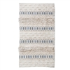 rectangle area rug ivory denim handwoven fringe knots