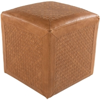 square tan camel woven leather pouf