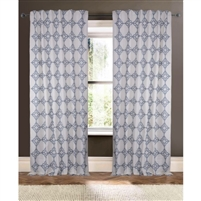 ivory navy blue embroidered curtain drapery panels