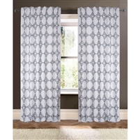 white gray embroidered curtain drapery panels