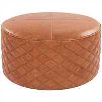 round tan leather ottoman diamond quilting