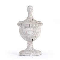 Whitewashed Wood Carved Urn Finial - Amora