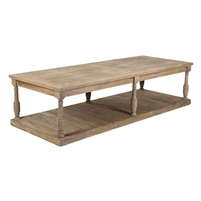 Large Two Tier Coffee Table - Florent - Natural Rustic Oak