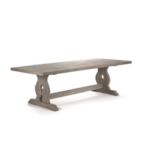 Zentique dining table rectangle raw natural wood farmhouse trestle