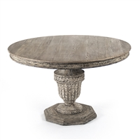 Round Pedestal Dining Table - Kilo - Distressed + Raw