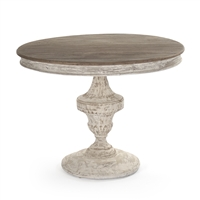 Round Pedestal Entry Table - Jesse - Whitewashed + Raw