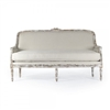 sofa bench wood frame carved limed finish white linen natural one cushion