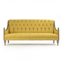 sofa wood frame carved natural caned sides linen yellow tufted low-profile