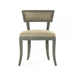 chair dining side wood frame sage green antiqued contemporary cushions tan linen concave back