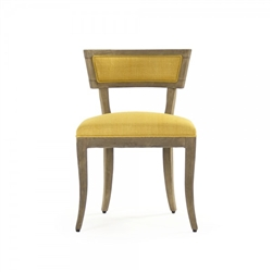 chair dining side wood frame natural contemporary cushions yellow linen concave back