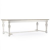 Rectangular Dining Table with Stretcher - San Francisco - White Distressed