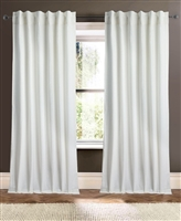 curtain panel white blue unlined linen rows open weave vertical