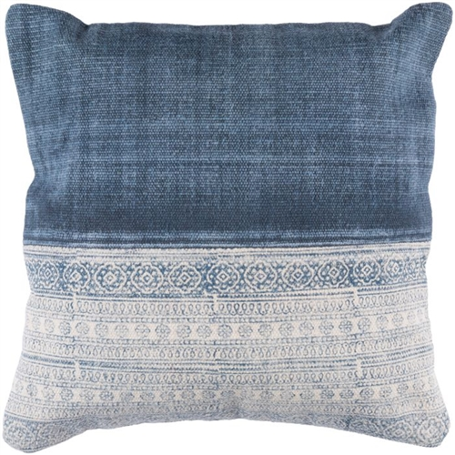 "square 22"" toss accent pillow shades of blue block print down insert"