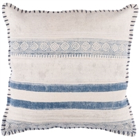 "square 20"" toss accent pillow blue stripes block print down insert"