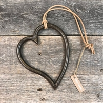 large heart ornament set metal natural cord
