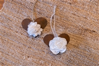 rust heart white paper flower twine