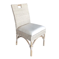 white washed rattan wicker dining chair off-white seat cushion