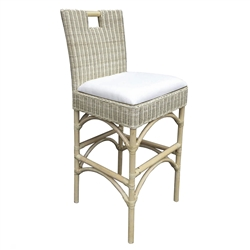 rattan white wash bar stool
