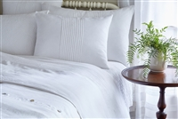 white linen bedding collection set hemstitch pin tucks duvet twin queen king sham standard euro king pillow accent toss boudoir