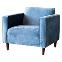 club chair upholstered steel blue velvet high arms