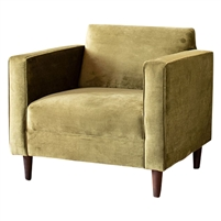 club chair upholstered avocado green velvet high arms